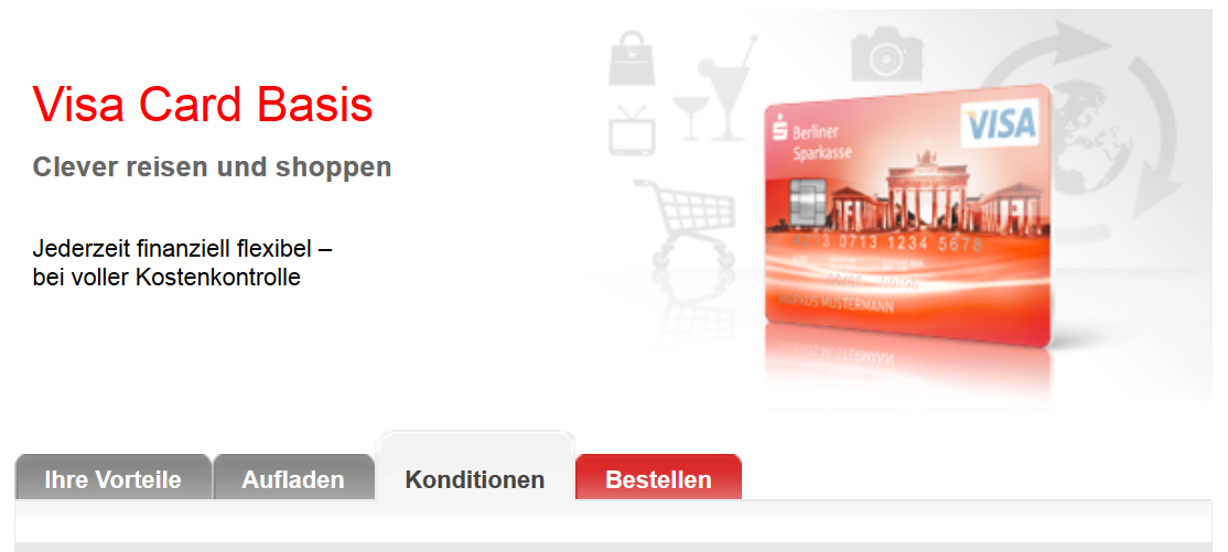 Prepaid Kreditkarte der Berliner Sparkasse.