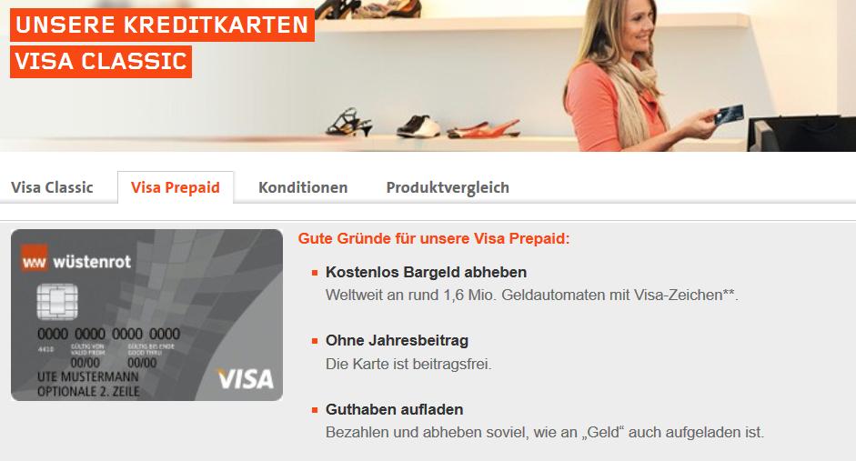 Wüstenrots Visa Classic Prepaid Kreditkarte kostenlos